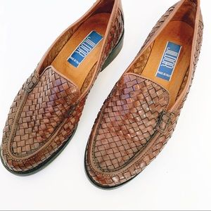 Basketweave Straw Leather Loafers Rubber Sole